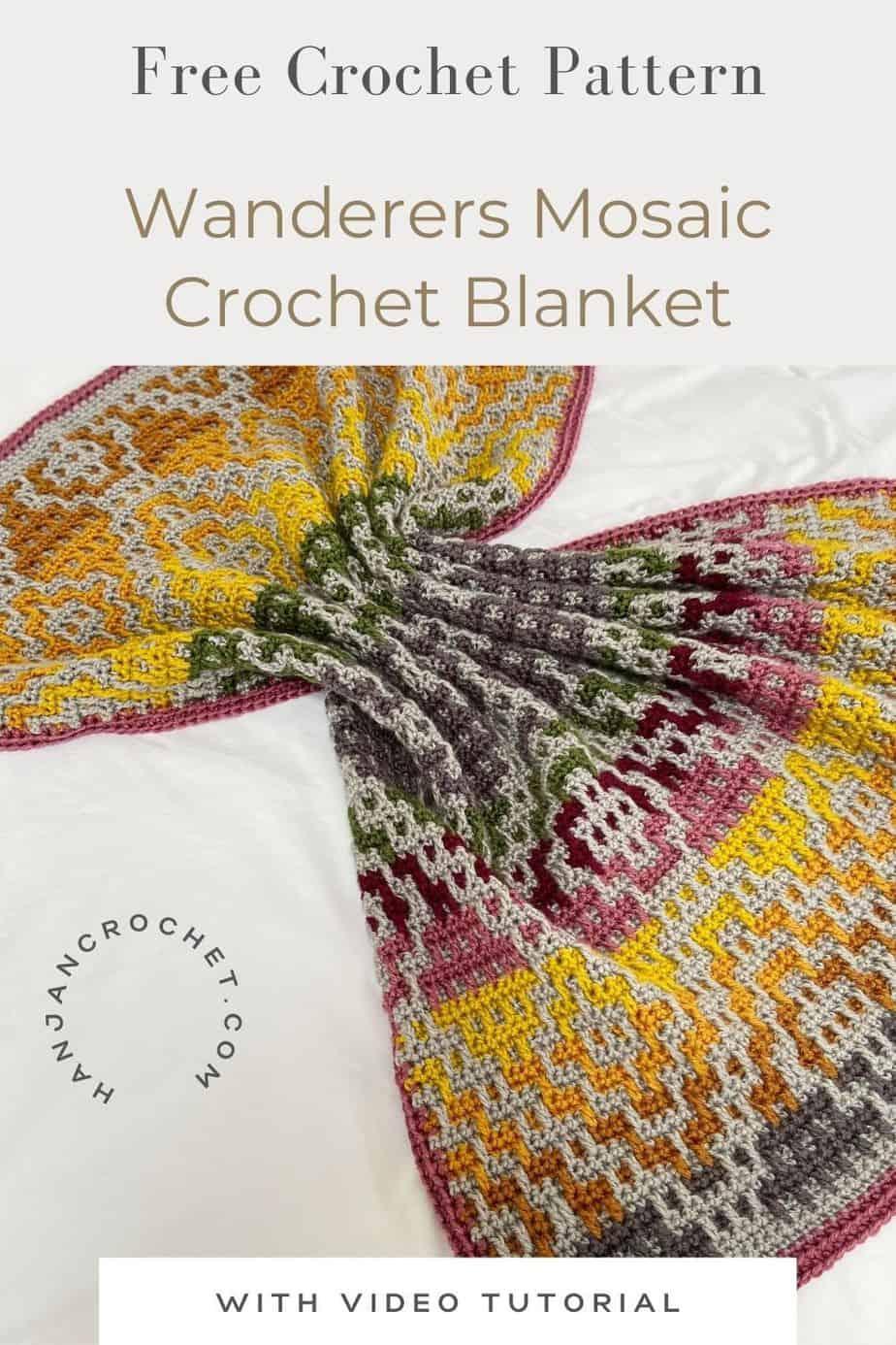 Wanderers Mosaic Crochet Blanket Pattern pin 4