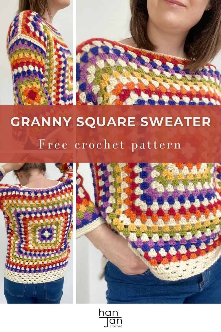 collage of images showing rainbow granny square crochet sweater