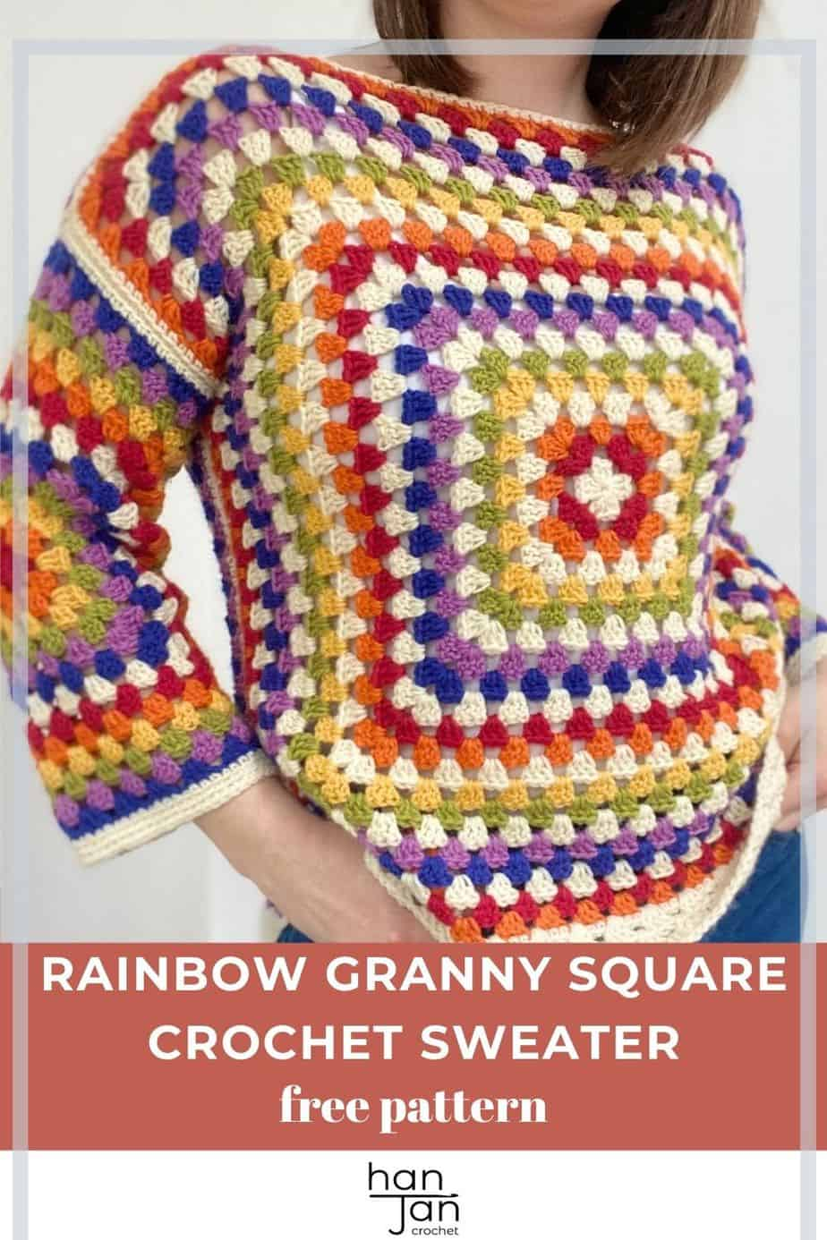 person wearing rainbow granny sweater