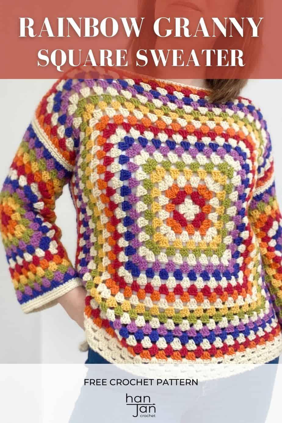 Rainbow Granny Square Sweater Crochet Pattern Pin 5