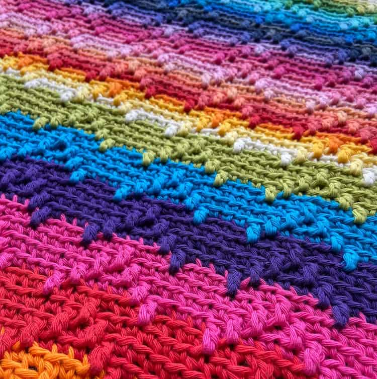 close up of overlay mosaic crochet blanket for babies