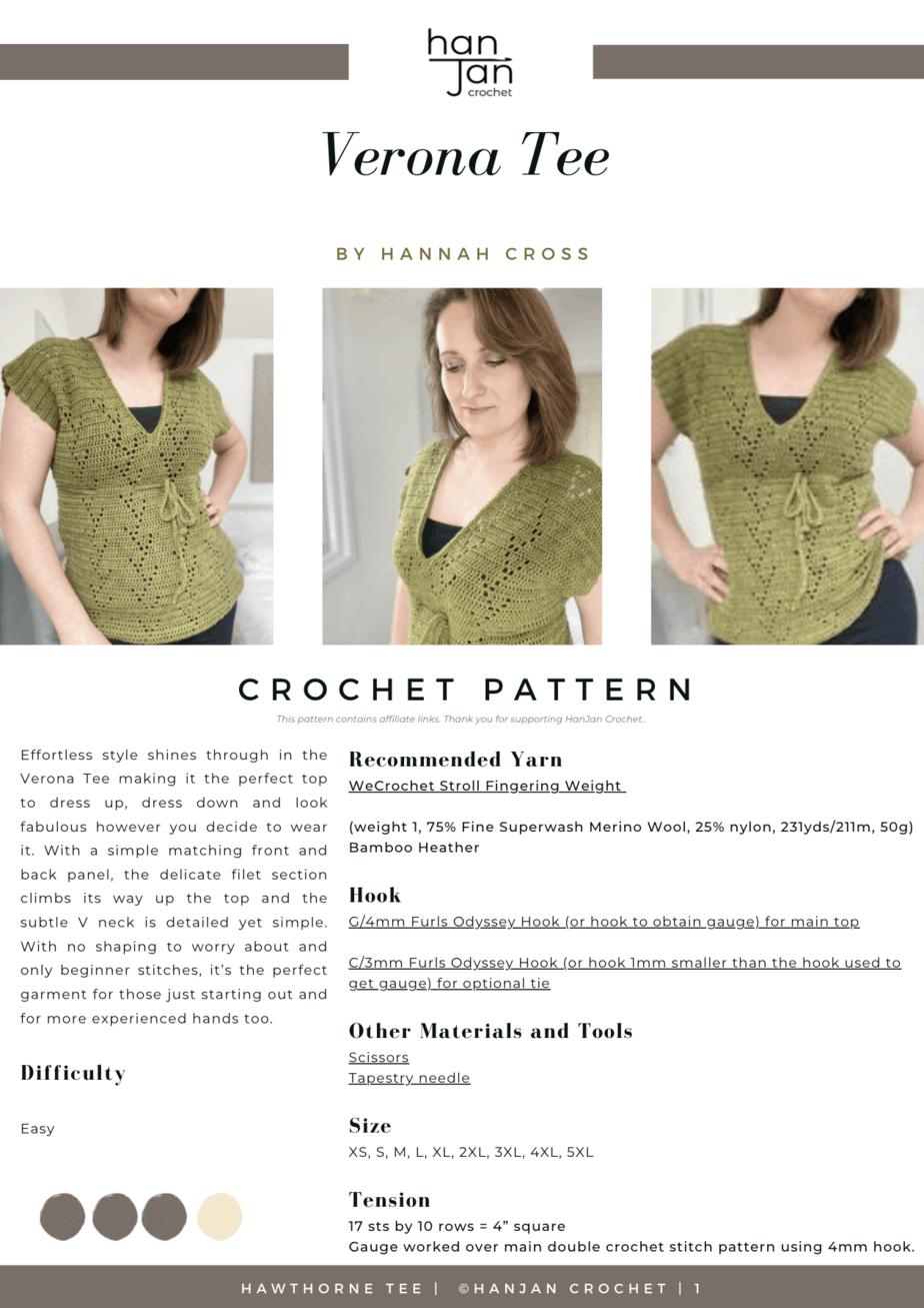 title page of Verona Tee crochet t-shirt pattern PDF