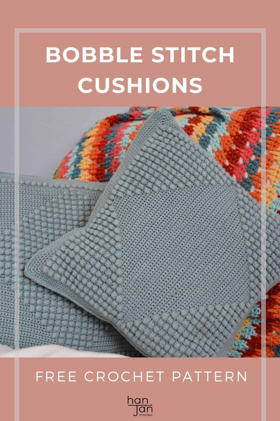 pin showing bobble stitch crochet cushion pattern, a modern home decor pattern