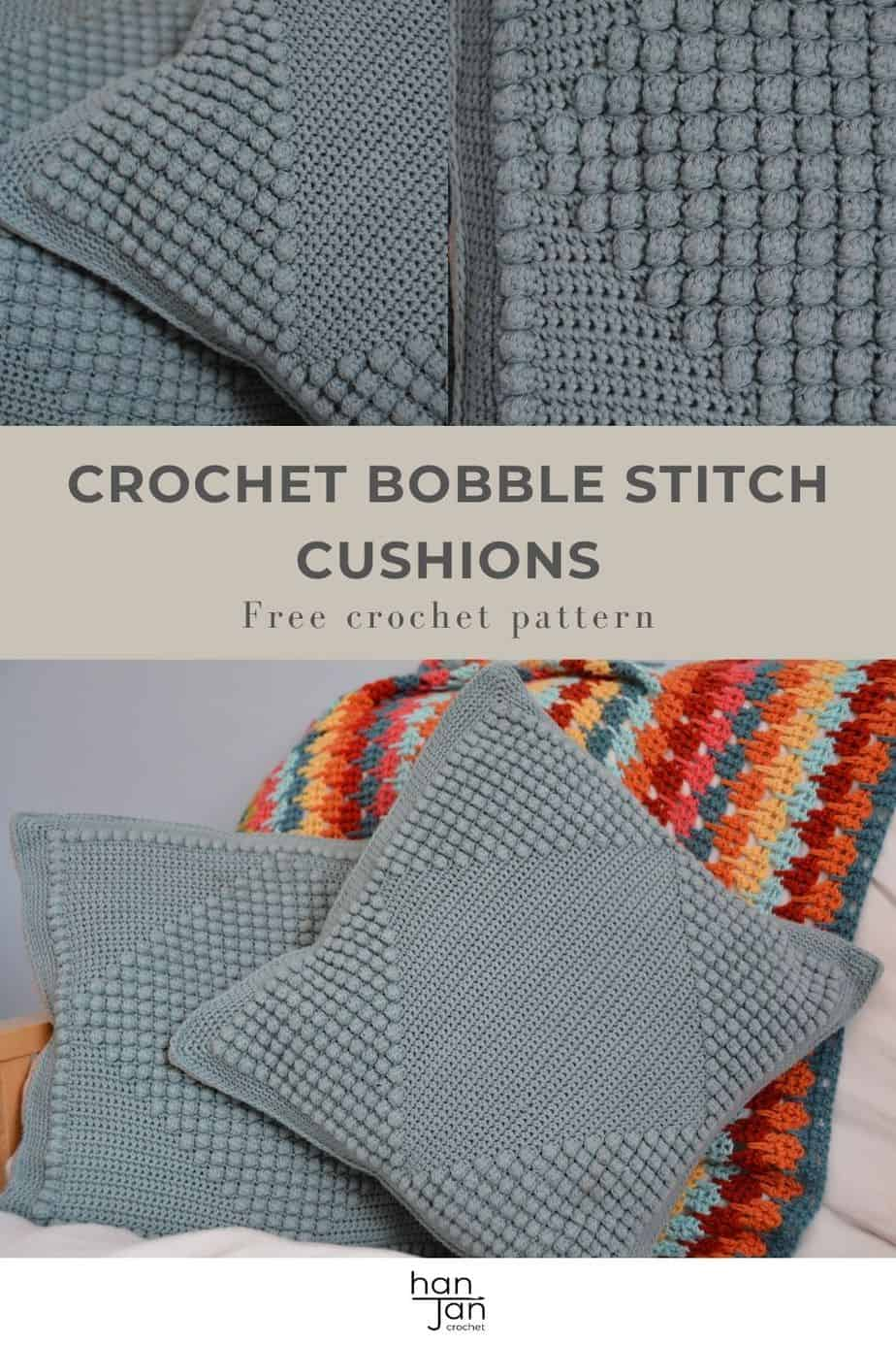 two textured bobble stitch crochet cushions in green grey colour