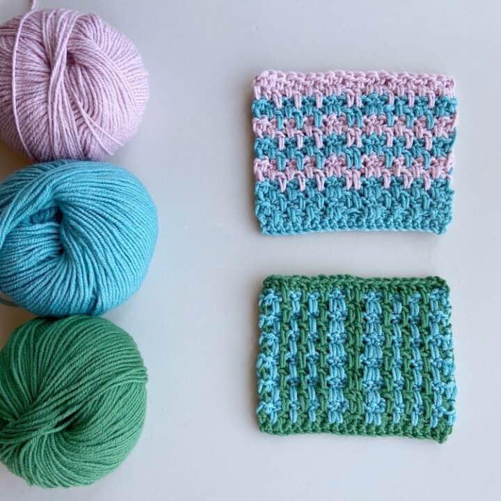 double crochet moss stitch tutorial swatch and yarn