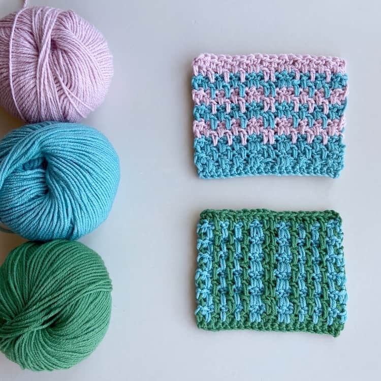 double crochet moss stitch tutorial two swatches on a table with three balls of yarn