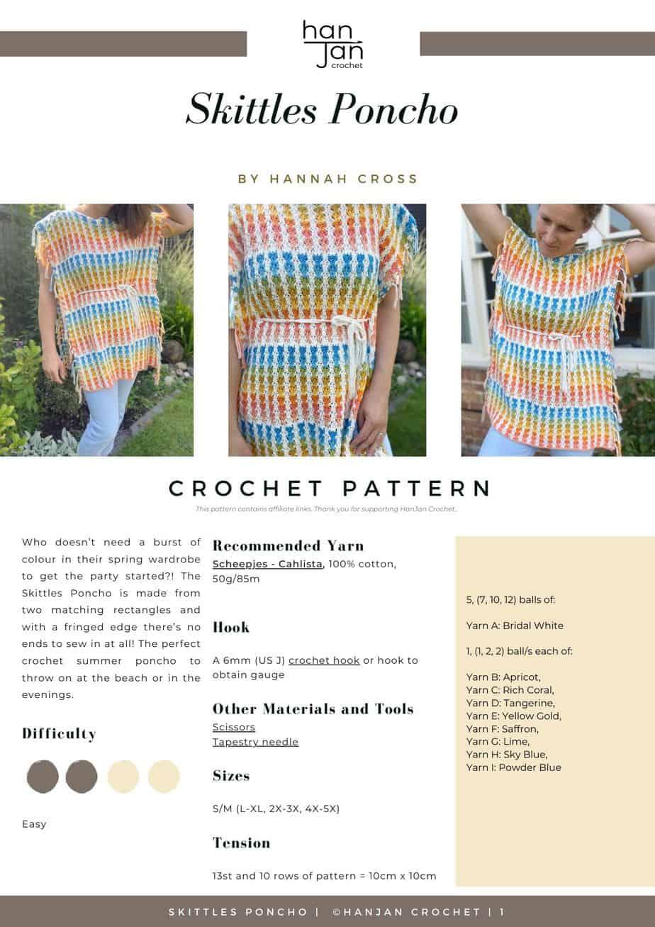 Skittle Crochet Summer Poncho Pattern PDF image