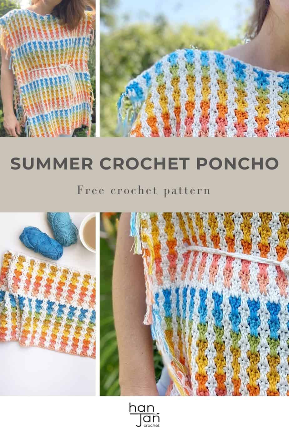 images of bright summer crochet poncho