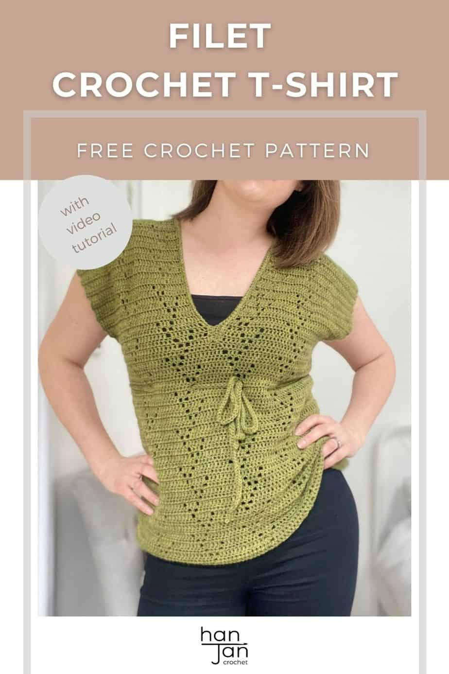 woman with hands on hips wearing green filet crochet t-shirt with tie under bust