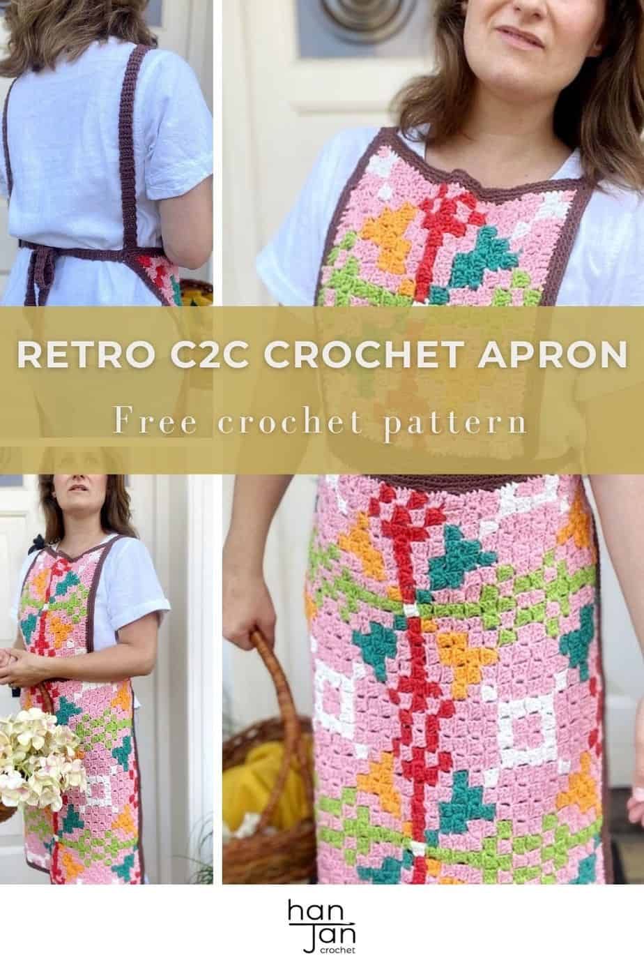 images showing front and back of a retro c2c crochet apron being worn by a woman holding a basket of flowers