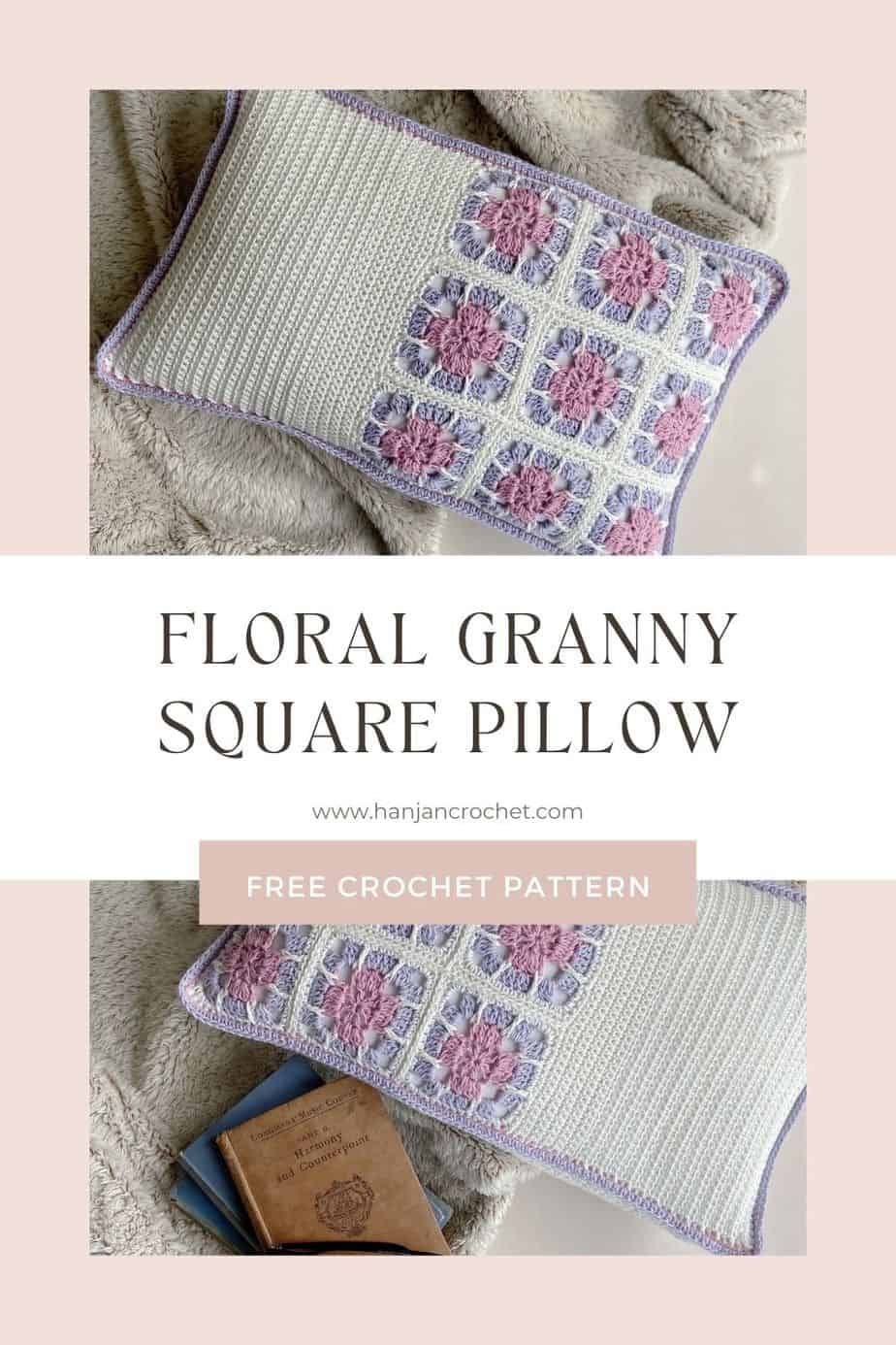 images of floral crochet granny square cushion on fluffy blanket