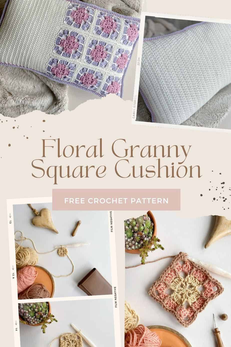 floral granny square cushion pattern tutorial images