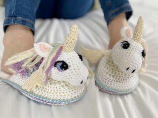 amigurumi unicorn crochet slippers
