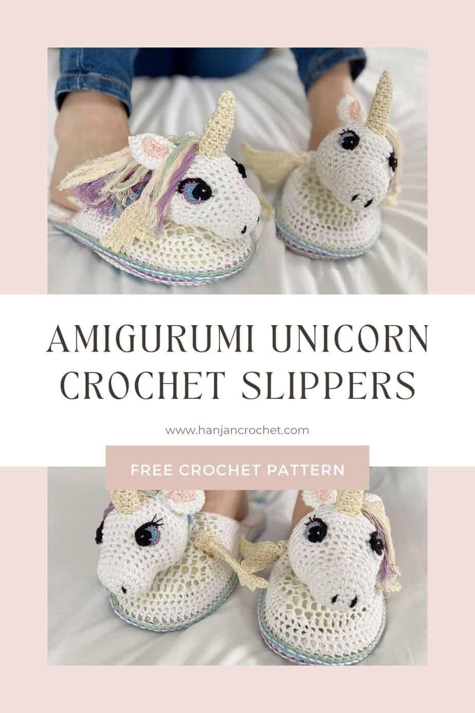 Cute unicorn slippers crochet pattern pin 2