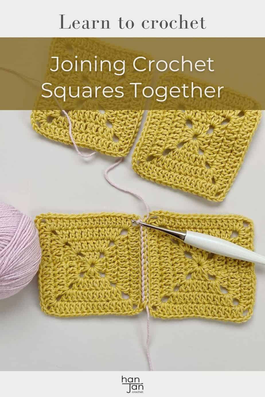 yellow and pink yarn with Furls crochet hook showing crochet slip stitch join of motifs