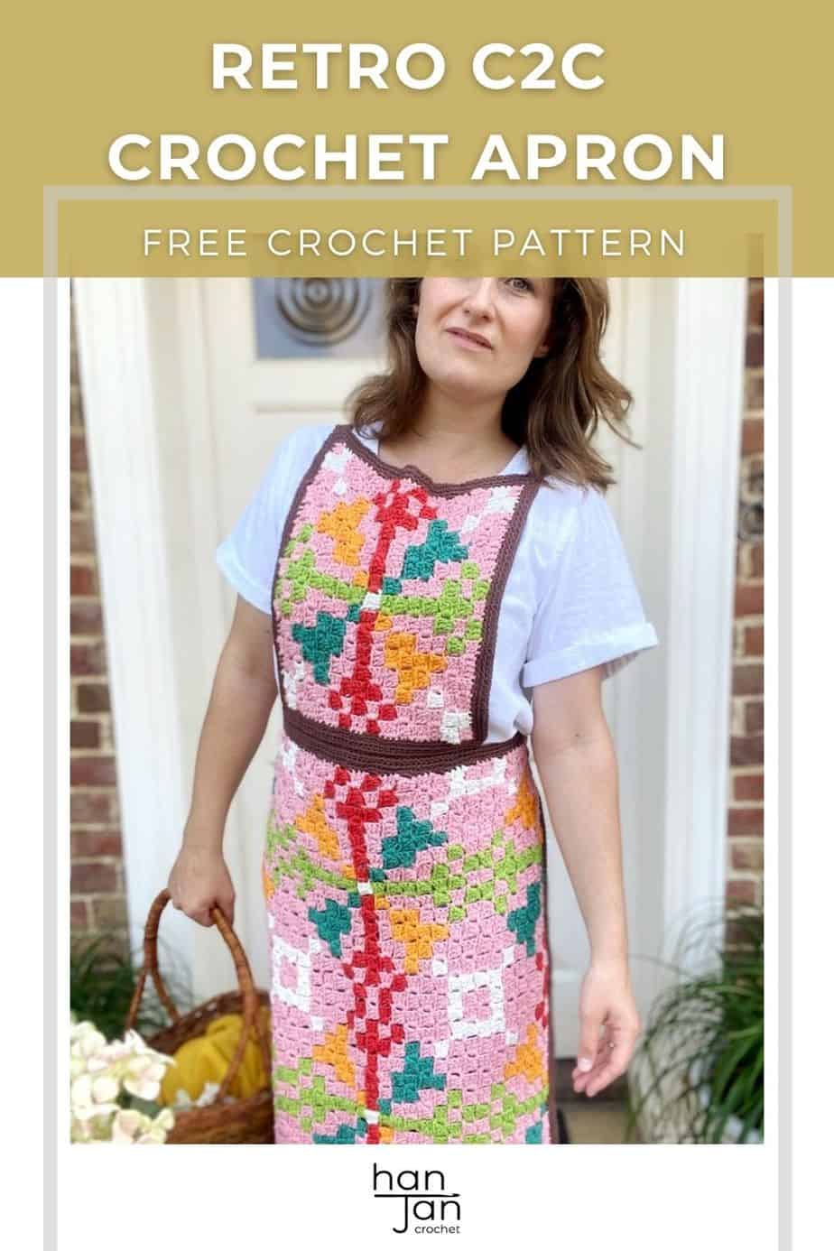 woman looking forward holding basket wearing white shirt and crochet apron