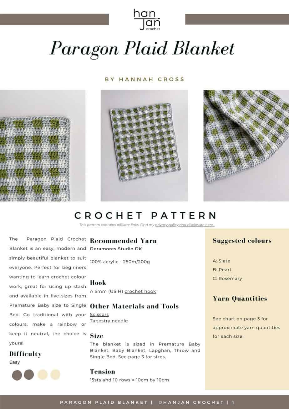 Paragon Crochet Plaid Blanket Pattern PDF