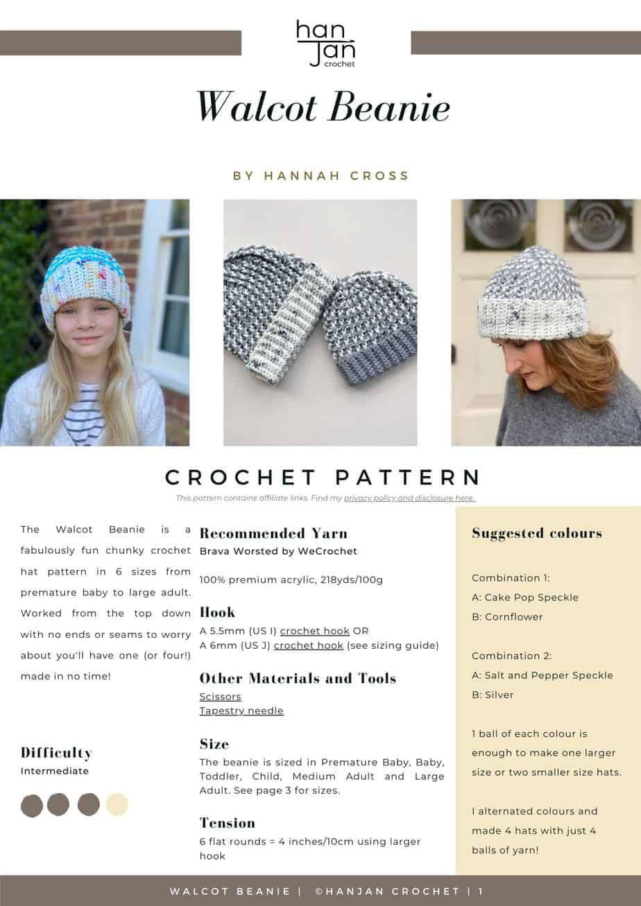 Walcot Beanie Chunky Crochet Hat Pattern PDF