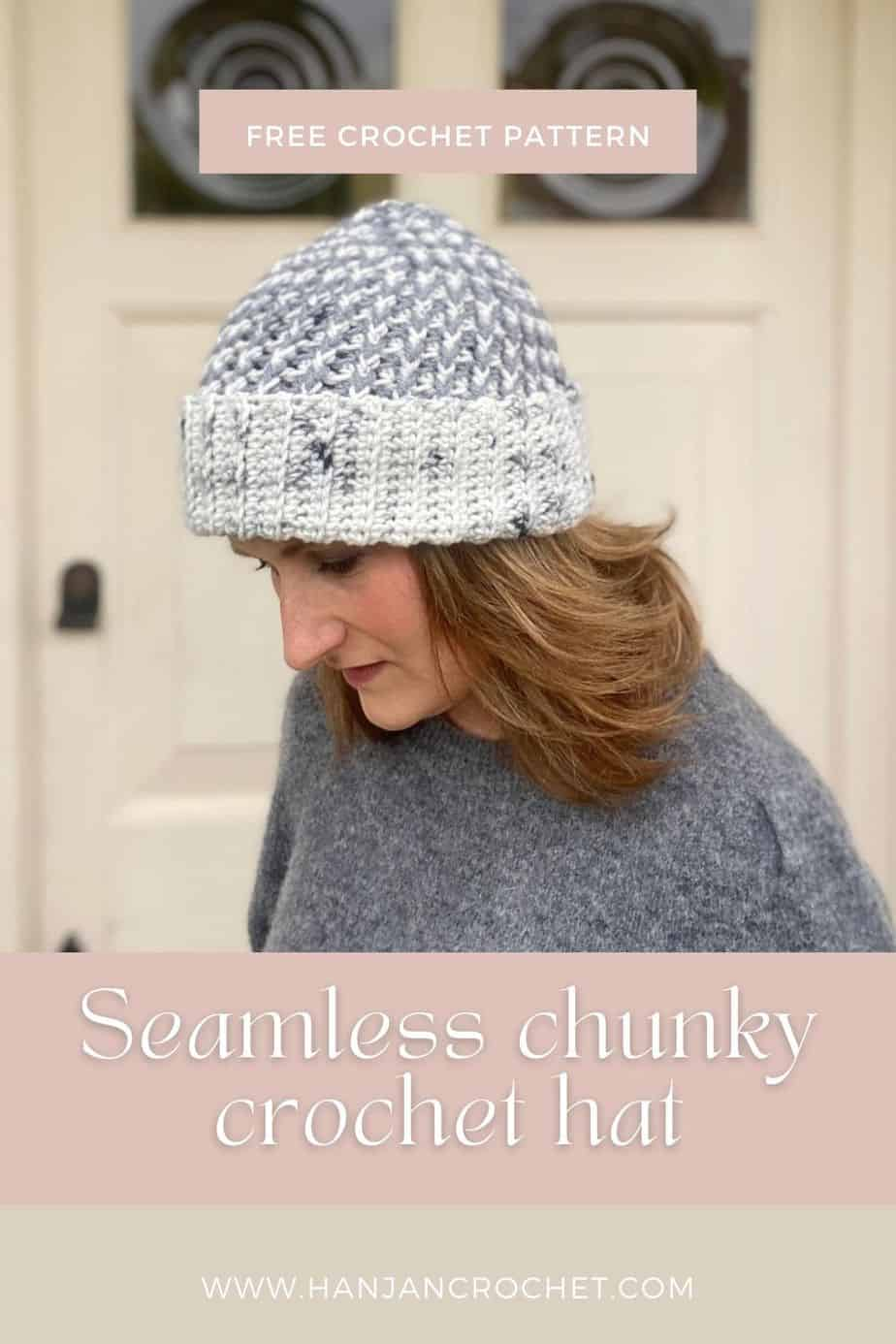 woman wearing grey and white ribbed crochet beanie