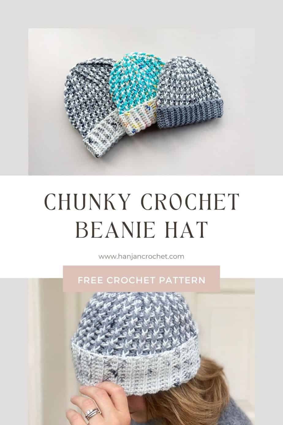 chunky crochet hat patterns sitting together with close up detail of rib stitch