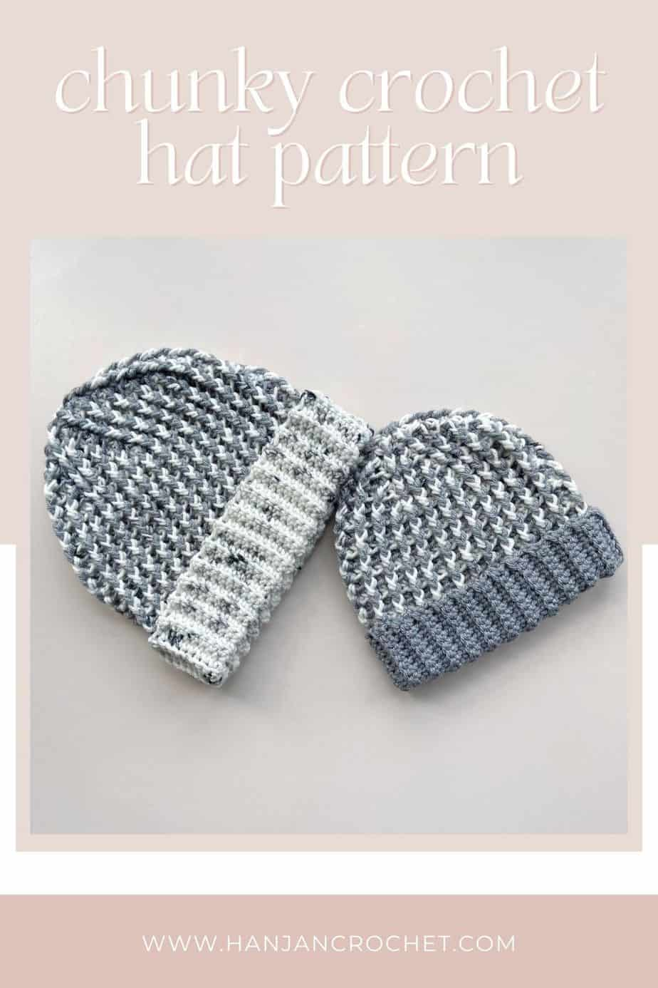 quick chunky crochet hats with ribbed stitch detail