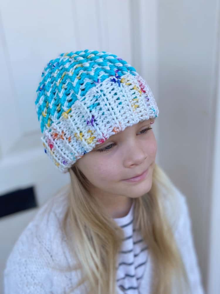 child size chunky crochet hat in bright colours