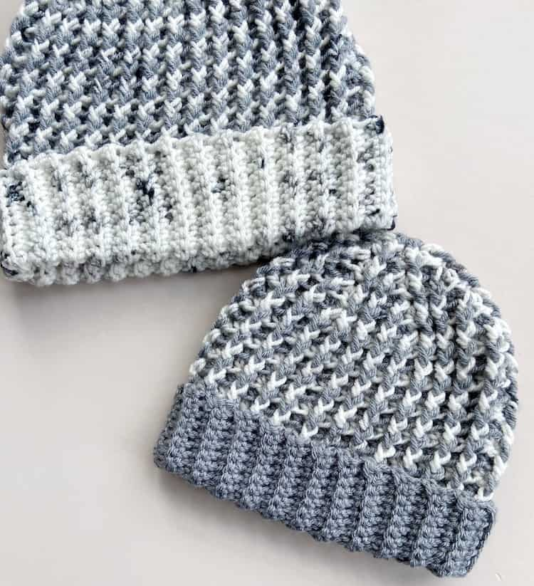 2 grey and white chunky crochet hat pattern samples