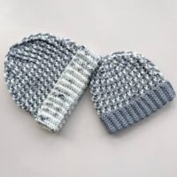 chunky crochet hat pattern in grey and white