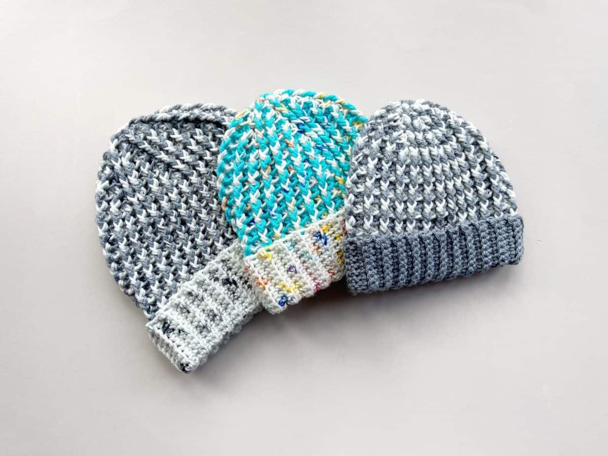 preemie crochet hat with child and adult size ones too