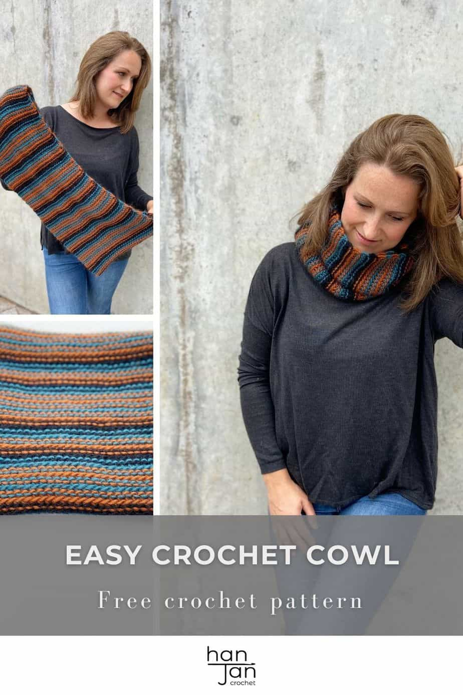 images showing striped chunky crochet cowl pattern in gender neutral colours