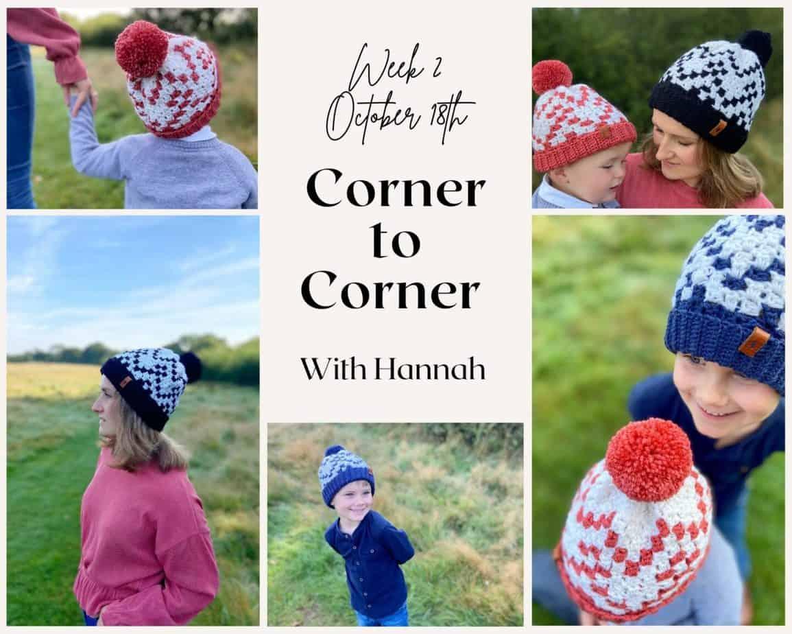 C2C Crochet Hat Collage