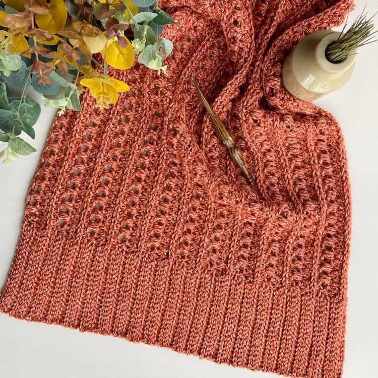 Kindred DK yarn crochet swatch and Furls crochet hook with Fall leaves