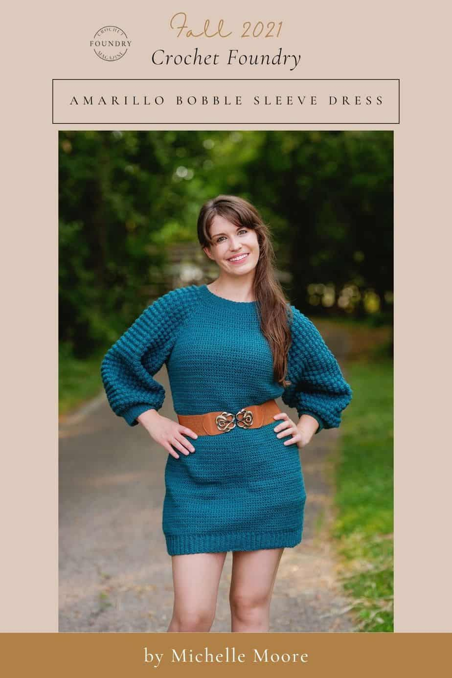 Amarillo Bobble Sleeve Dress crochet pattern by Michelle Moore for Crochet Foundry magazine Fall 2021