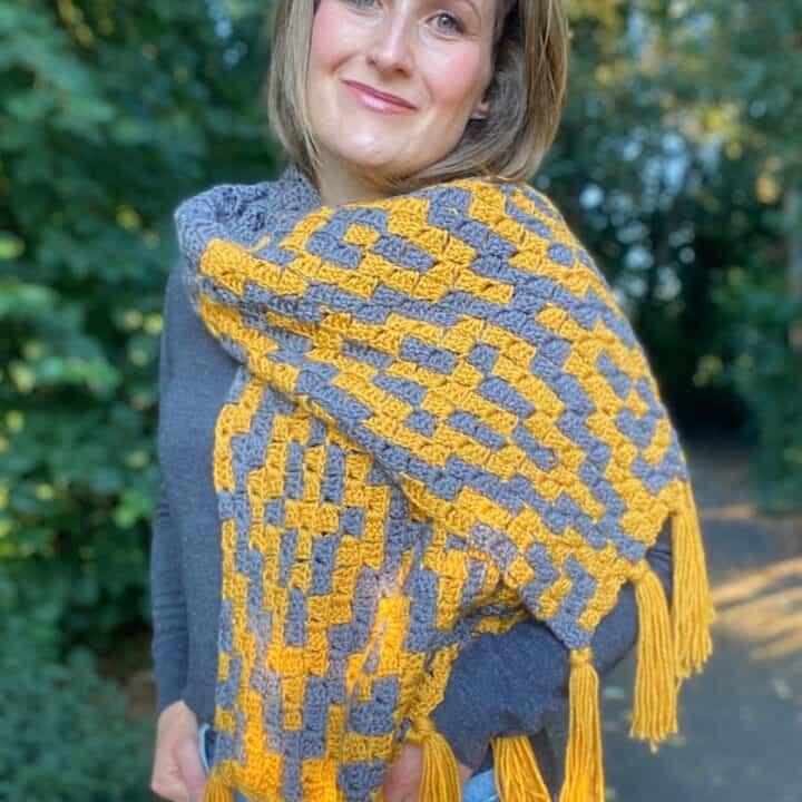 Diamond Trees c2c crochet scraf pattern