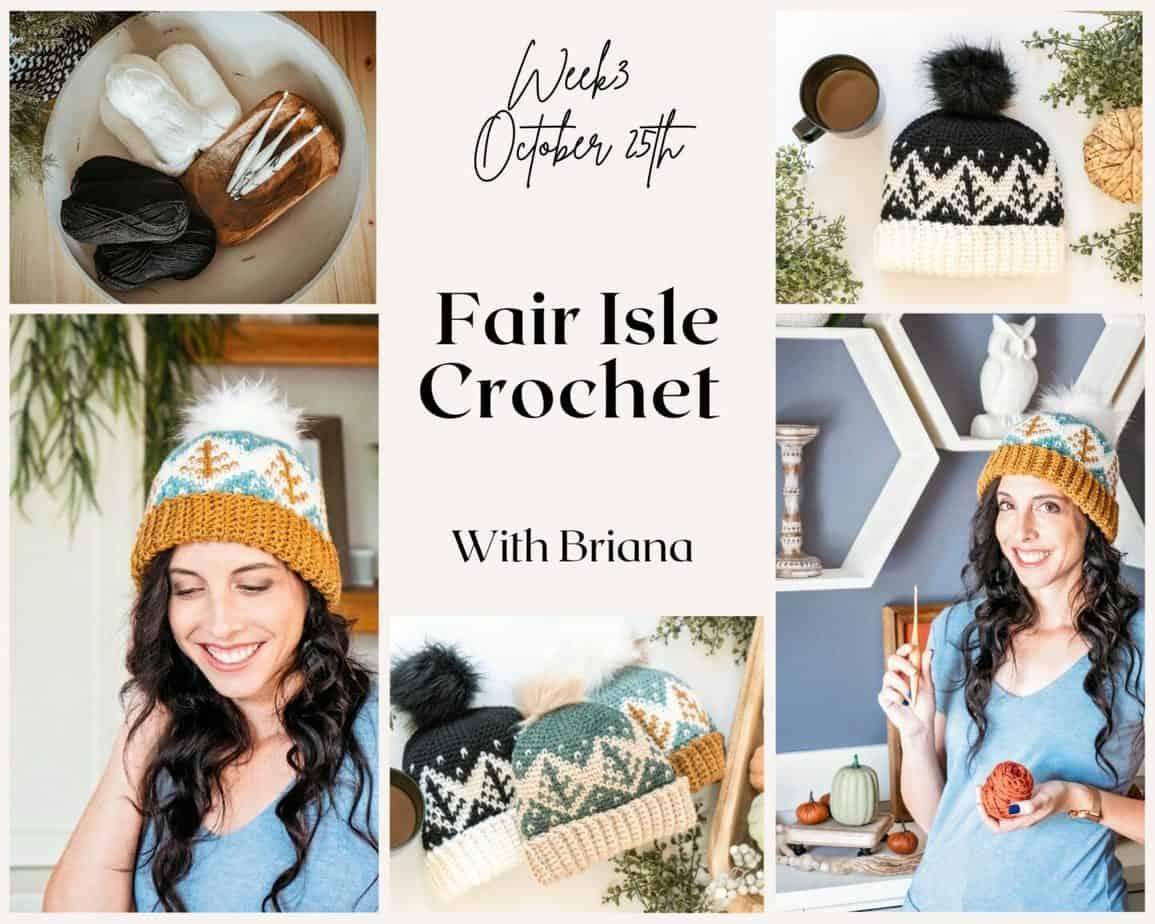 Fair Isle Crochet Hat Collage