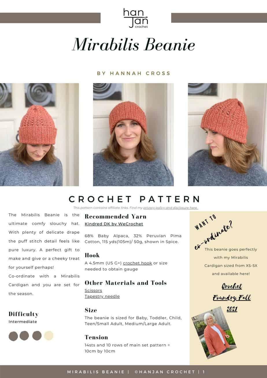 Mirabilis Puff Stitch Beanie Crochet Hat Pattern PDF