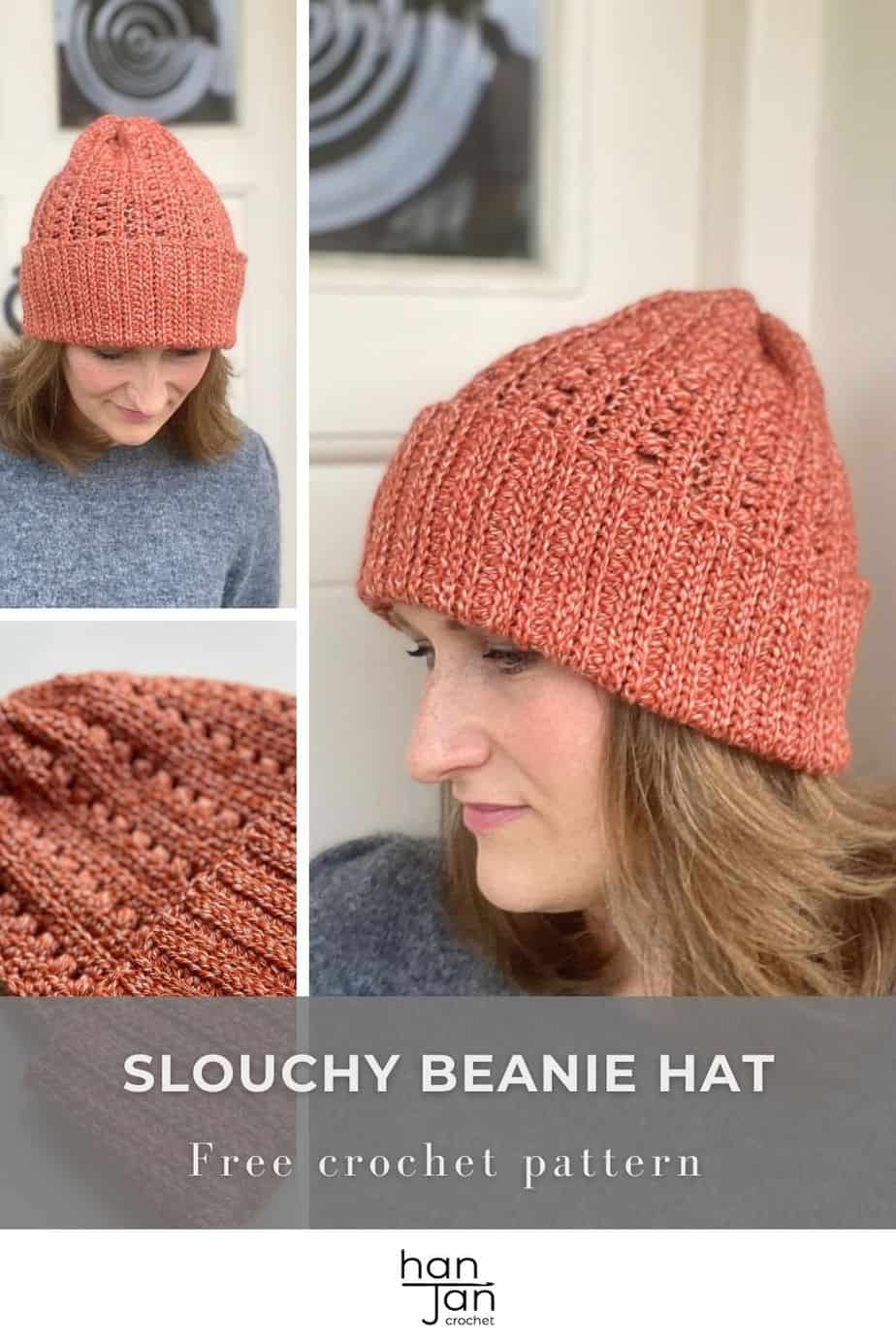 three images of slouchy crochet hat pattern being worn by woman and stitch detail