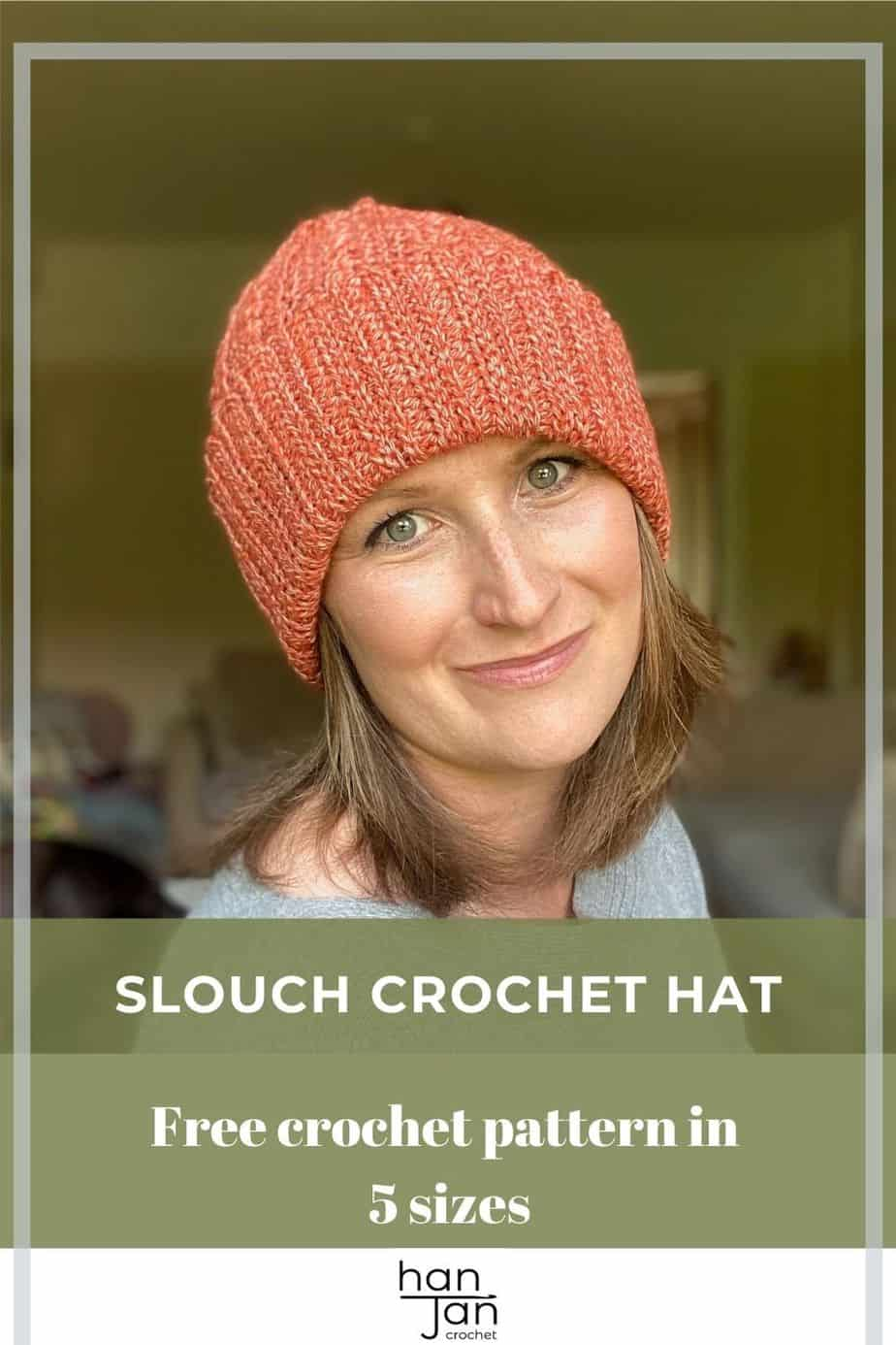 woman wearing slouchy crochet hat facing camera and smiling