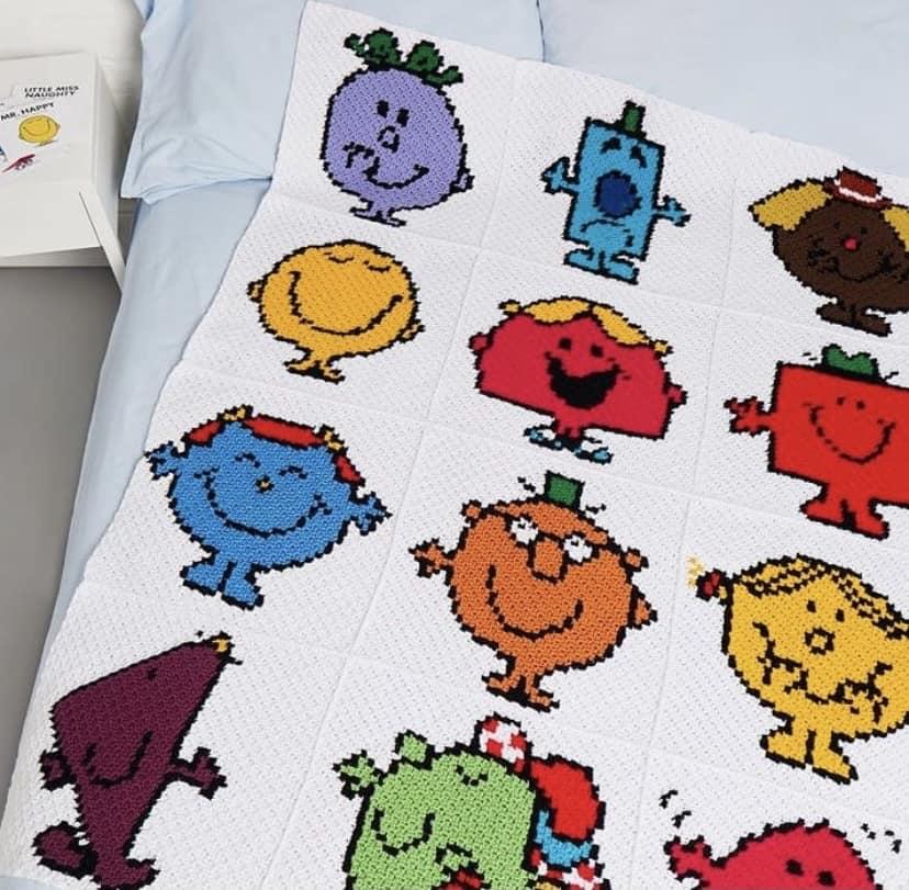 Mr Men and Little Miss blanket in c2c crochet