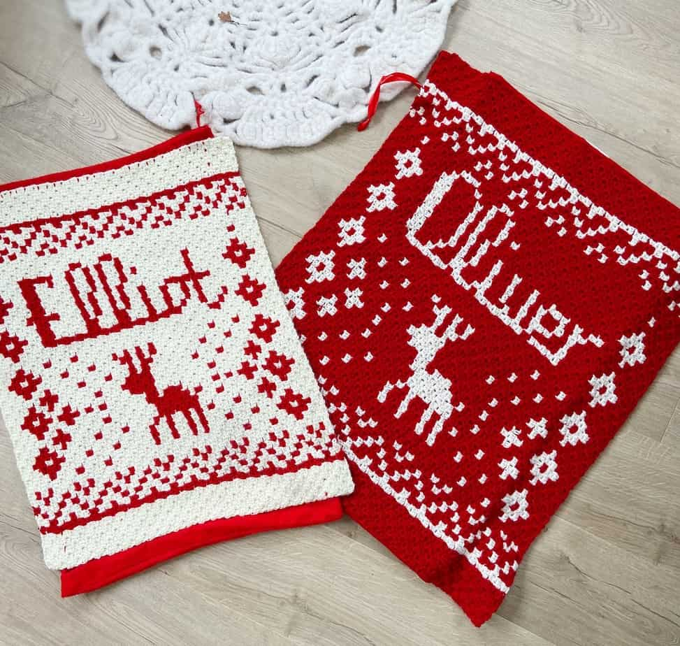 Personalised c2c Christmas Crochet Blanket Pattern and Present Sack with Nordic reindeer pattern and Oliver and Elliot