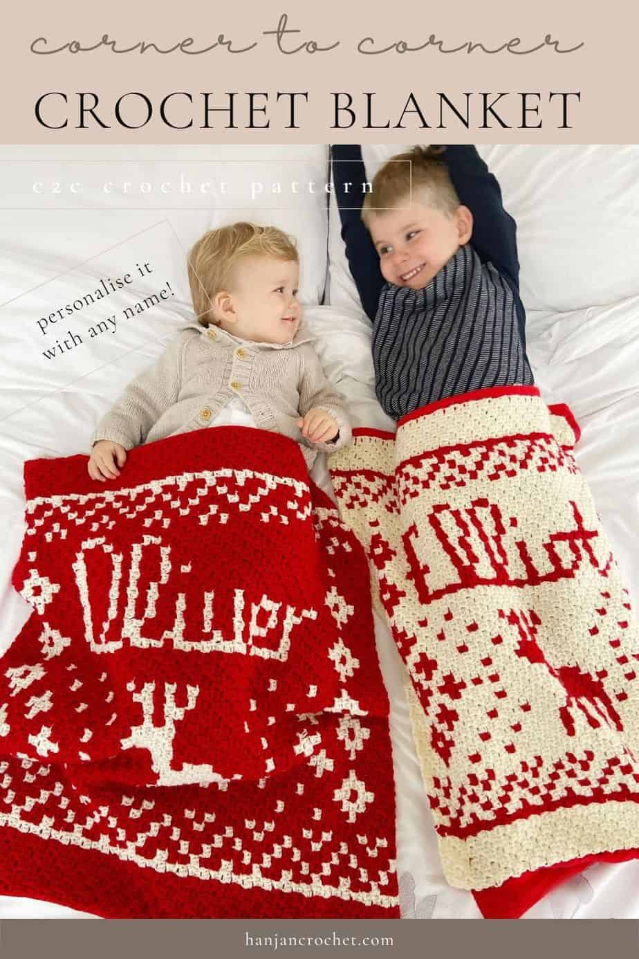 2 children laying under Personalised c2c Christmas Crochet Blanket Pattern and Present Sack