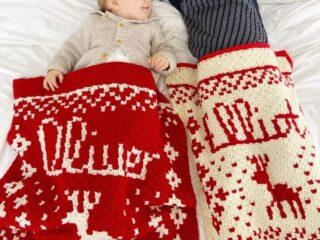 c2c Christmas crochet blanket pattern