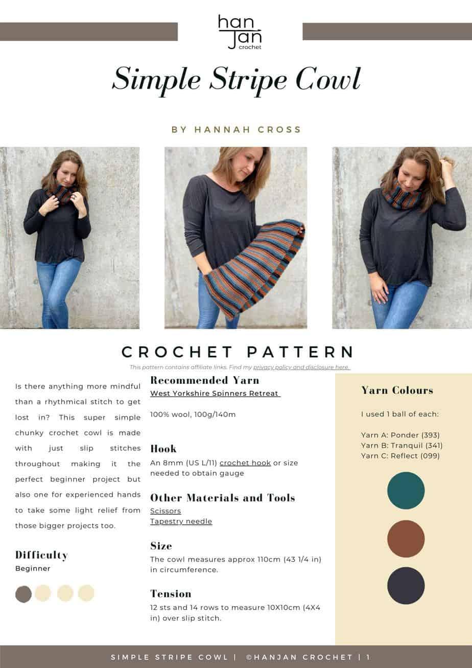 Striped Cowl Pattern