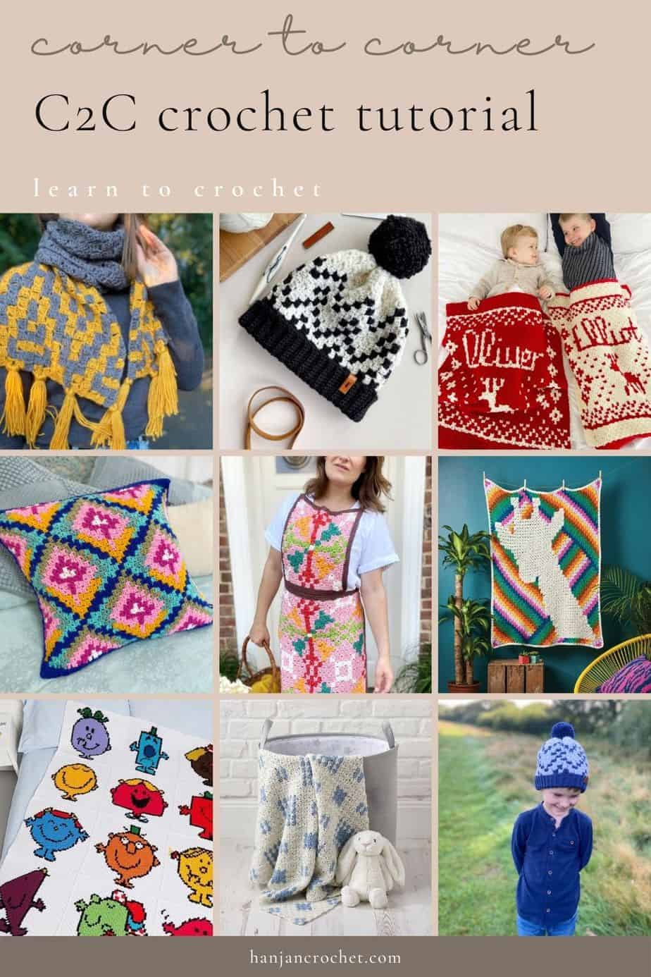image showing 9 c2c crochet patterns including blankets, pillows, hats, scarf and Christmas present sack