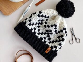 corner to corner crochet hat with pom pom bobble